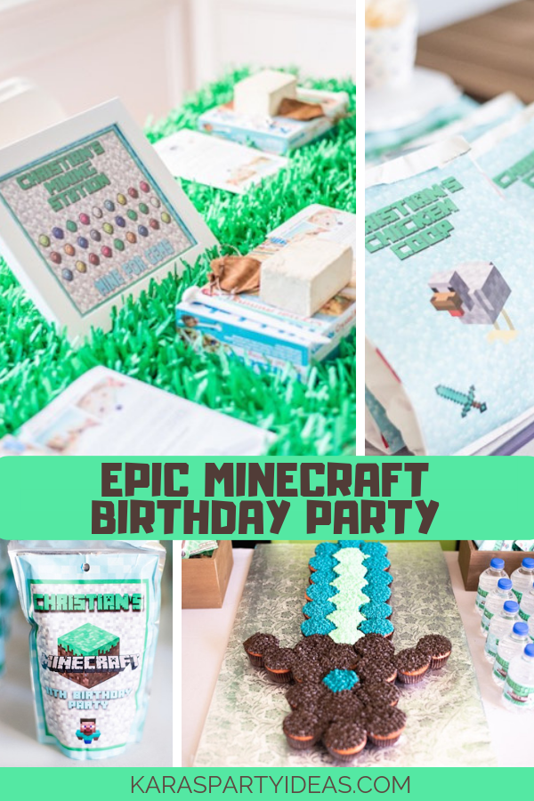 Epic Minecraft Birthday Party via Kara's Party Ideas - KarasPartyIdeas.com