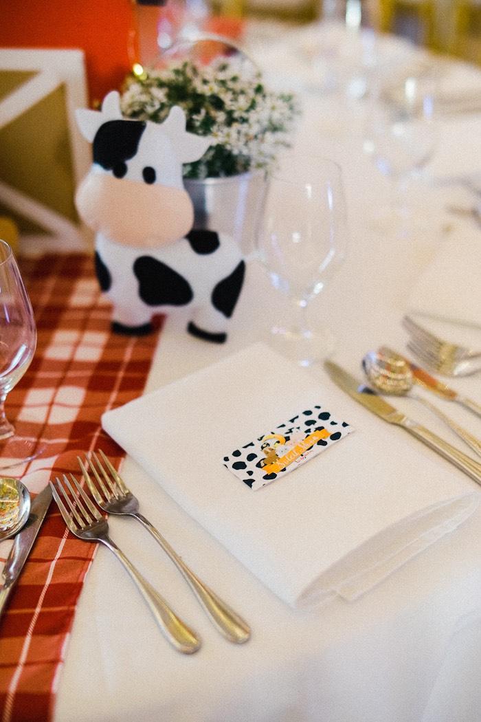 Farm-inspired Table Setting from a Farm Animal Birthday Party on Kara's Party Ideas   KarasPartyIdeas.com (22)