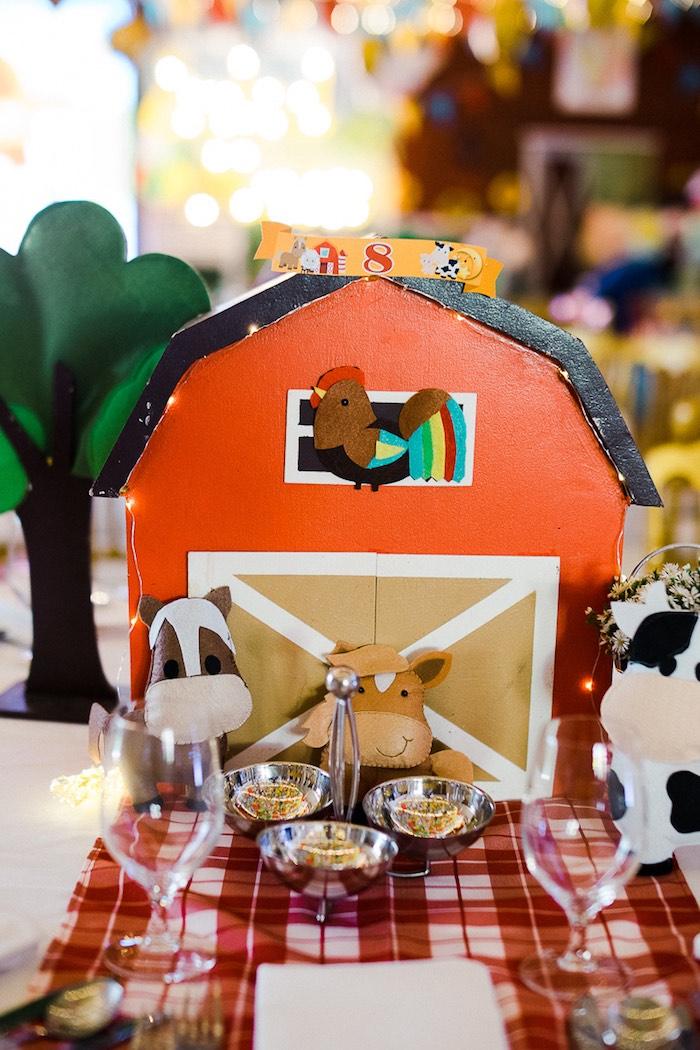 Barn Table Centerpiece from a Farm Animal Birthday Party on Kara's Party Ideas   KarasPartyIdeas.com (20)