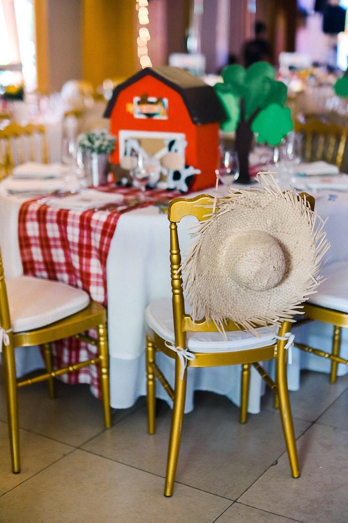 Straw Hat-adorned Chair from a Farm Animal Birthday Party on Kara's Party Ideas   KarasPartyIdeas.com (17)