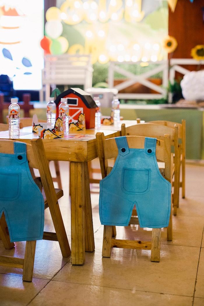Overall Chair Cover from a Farm Animal Birthday Party on Kara's Party Ideas   KarasPartyIdeas.com (15)