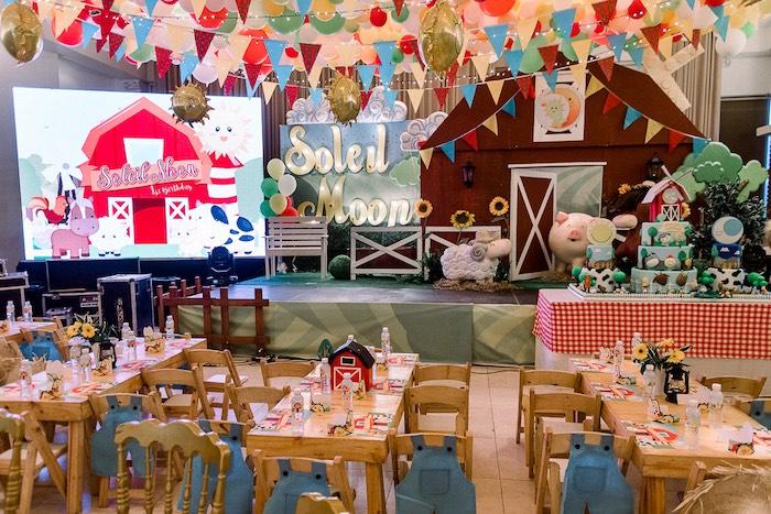 Farm Themed Guest Tables from a Farm Animal Birthday Party on Kara's Party Ideas   KarasPartyIdeas.com (8)