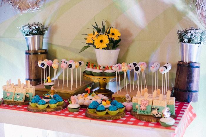 Farm Themed Dessert Table from a Farm Animal Birthday Party on Kara's Party Ideas   KarasPartyIdeas.com (32)