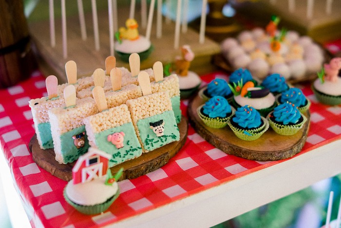 Farm Animal Crispy Treats + Pond Cupcakes from a Farm Animal Birthday Party on Kara's Party Ideas   KarasPartyIdeas.com (30)