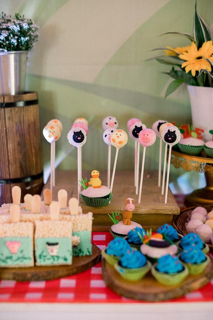 Farm Animal Cake Pops + Sweets from a Farm Animal Birthday Party on Kara's Party Ideas   KarasPartyIdeas.com (29)