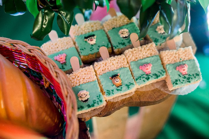 Farm Animal Rice Krispie Treats from a Farm Animal Birthday Party on Kara's Party Ideas   KarasPartyIdeas.com (27)