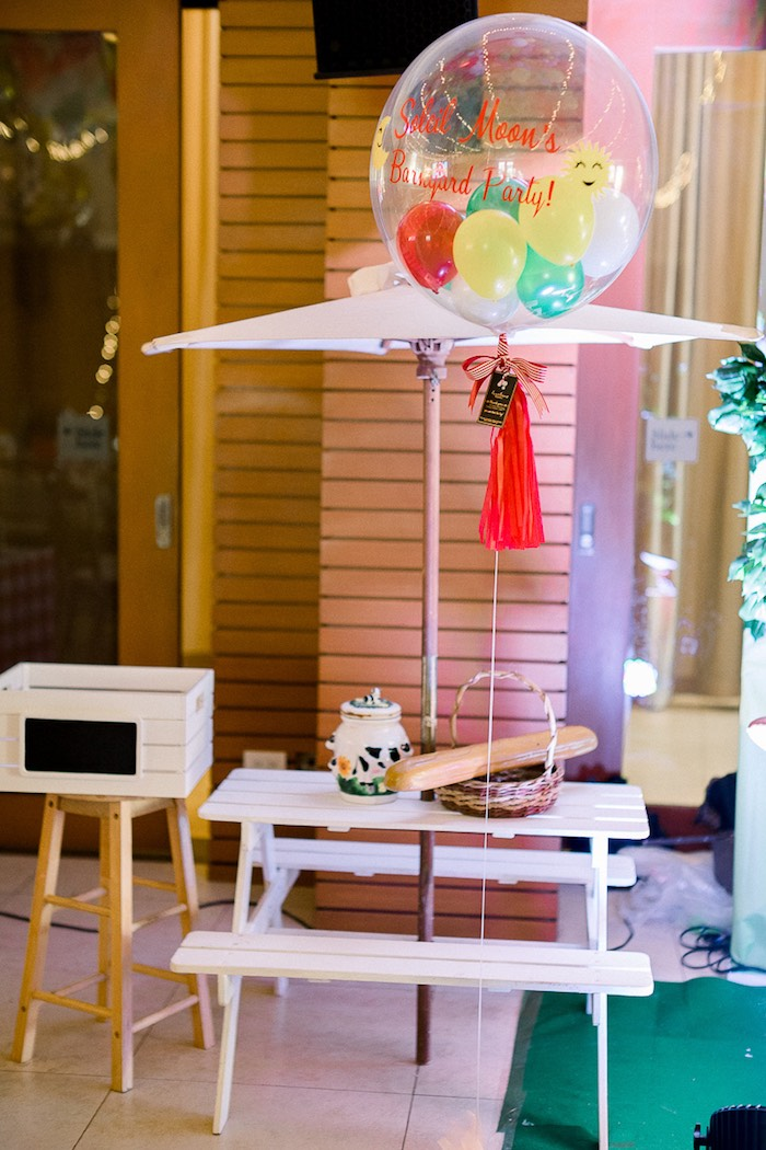 Colorful Balloon Party Table from a Farm Animal Birthday Party on Kara's Party Ideas   KarasPartyIdeas.com (26)