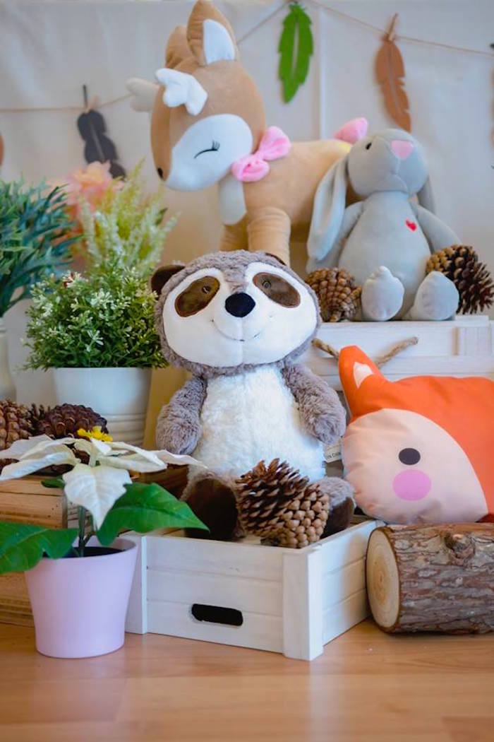 Plush Woodland Animal Decorations from a Girly Rustic Woodland Birthday Party on Kara's Party Ideas | KarasPartyIdeas.com (8)