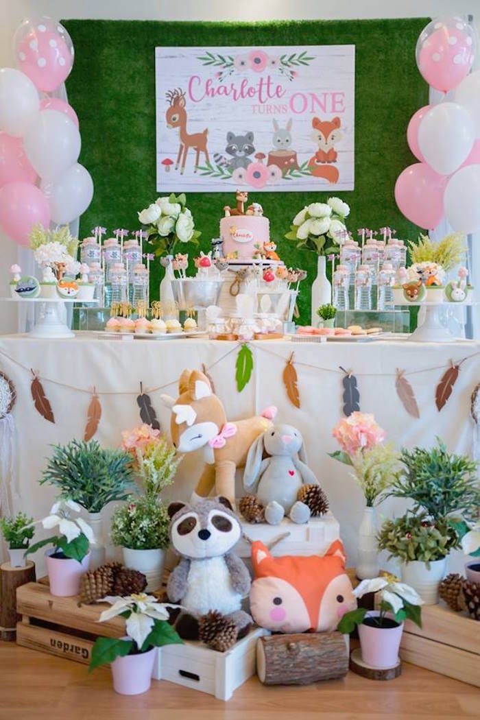 Woodland Party Table from a Girly Rustic Woodland Birthday Party on Kara's Party Ideas | KarasPartyIdeas.com (4)