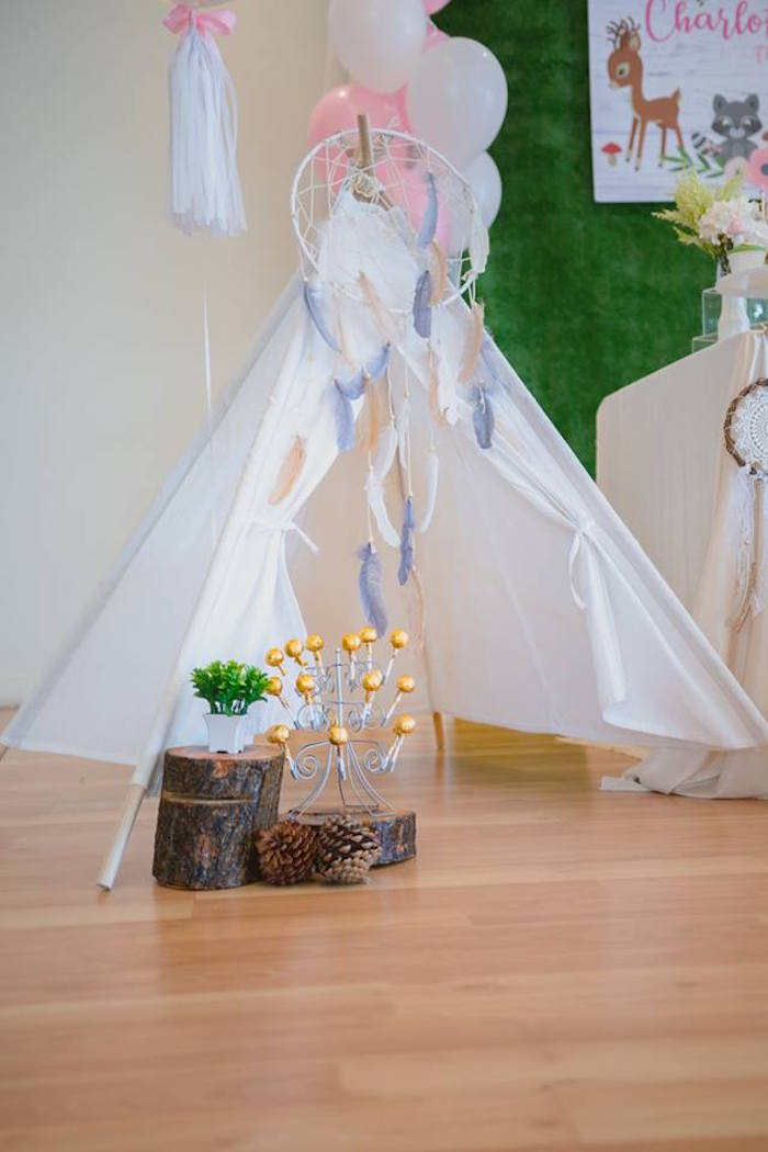 Woodland Teepee Tent from a Girly Rustic Woodland Birthday Party on Kara's Party Ideas | KarasPartyIdeas.com (3)