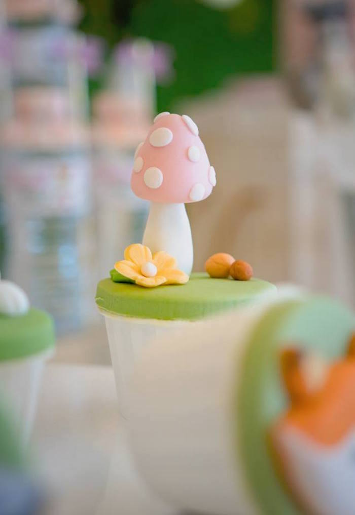 Pink Toadstool + Mushroom Cake Topper from a Girly Rustic Woodland Birthday Party on Kara's Party Ideas | KarasPartyIdeas.com (14)