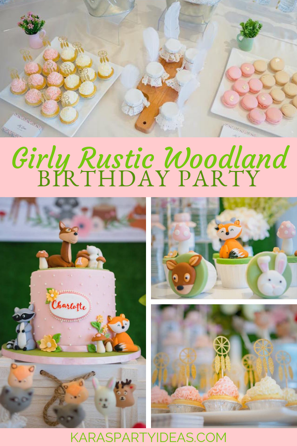 Girly Rustic Woodland Birthday Party via Kara's Party Ideas - KarasPartyIdeas.com