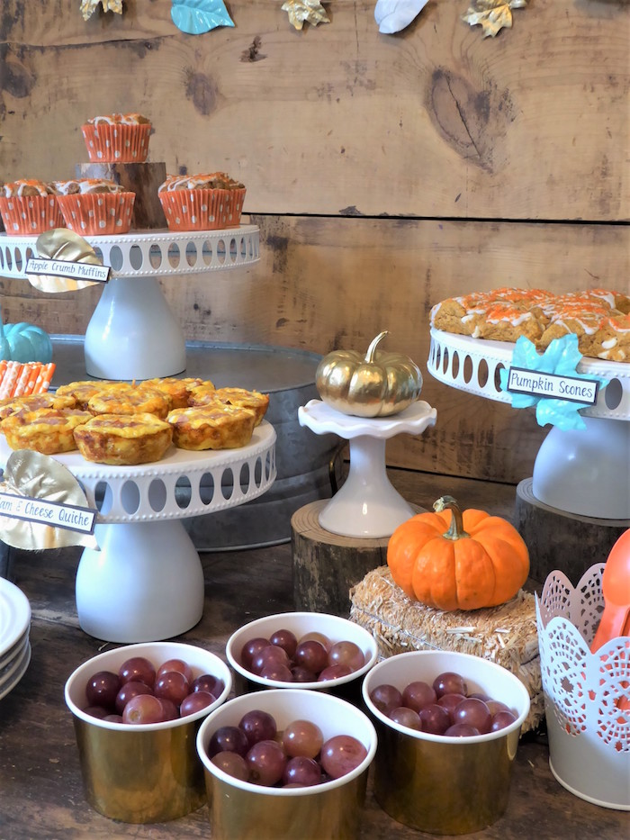 Grapes and platters from a Rustic Fall Breakfast Bar on Kara's Party Ideas | KarasPartyIdeas.com