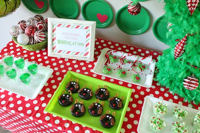 "Grinch Party Dessert Table from a ""Party Like a Grinch"" Christmas Party on Kara's Party Ideas 