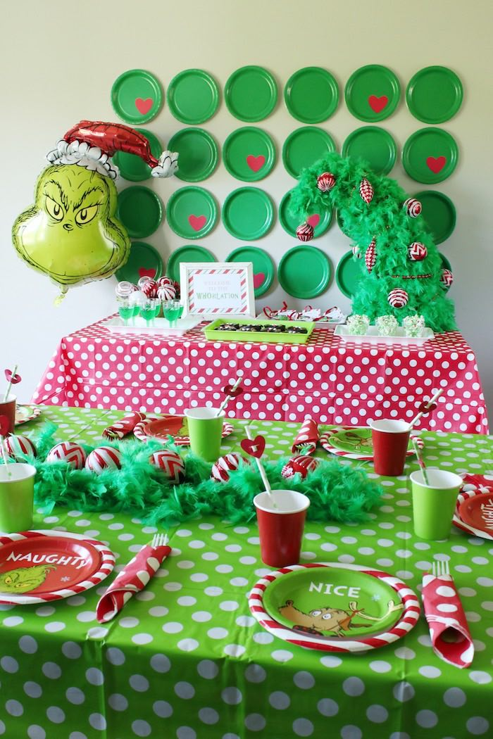 "Grinch Party Tables from a ""Party Like a Grinch"" Christmas Party on Kara's Party Ideas 