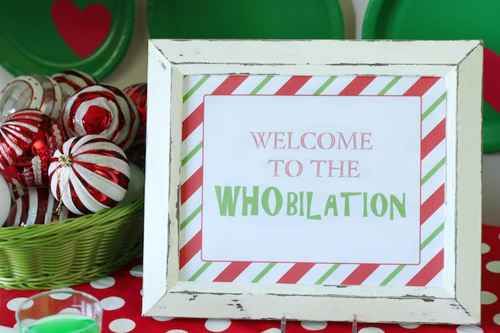 "Whoville Welcome Sign from a ""Party Like a Grinch"" Christmas Party on Kara's Party Ideas 