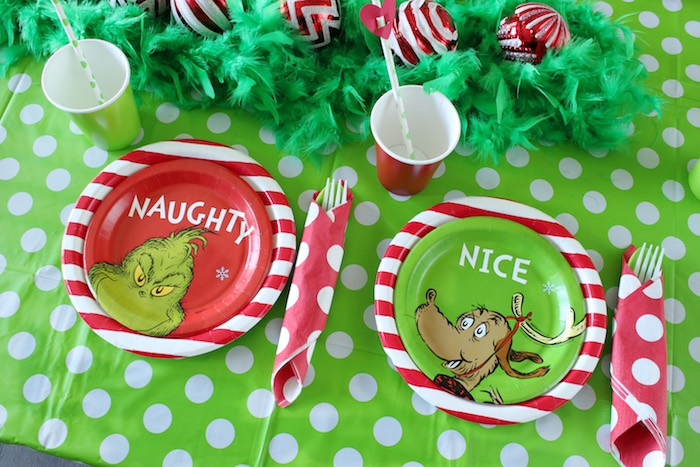 "Grinch Party Tableware - Naughty + Nice Place Settings from a ""Party Like a Grinch"" Christmas Party on Kara's Party Ideas 