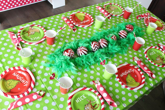 "Grinch Party Table + Tableware from a ""Party Like a Grinch"" Christmas Party on Kara's Party Ideas 