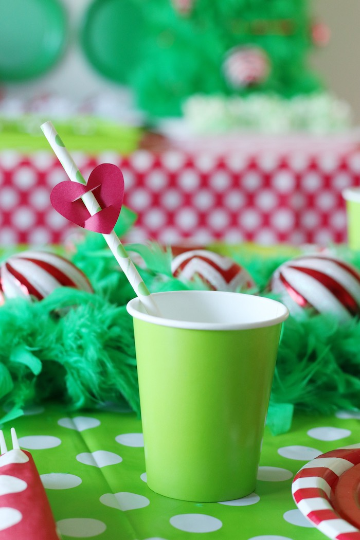 "Green Cup with - Grinch Heart Straw Topper from a ""Party Like a Grinch"" Christmas Party on Kara's Party Ideas 