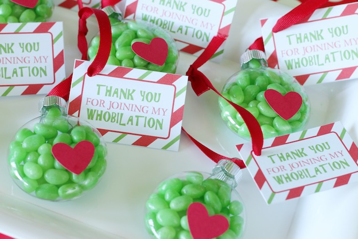 "Grinch Party Favors (Grinch Heart Ornaments) from a ""Party Like a Grinch"" Christmas Party on Kara's Party Ideas 