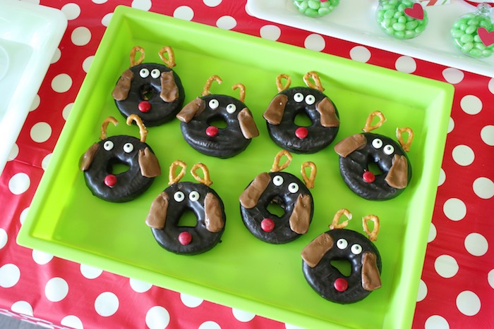 "Max the dog donuts from a ""Party Like a Grinch"" Christmas Party on Kara's Party Ideas 