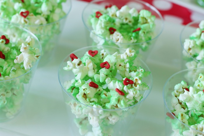 "Grinch Popcorn from a ""Party Like a Grinch"" Christmas Party on Kara's Party Ideas 