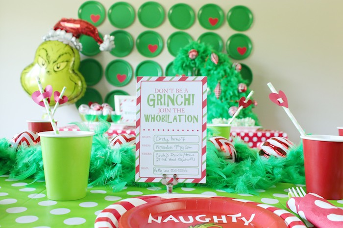 "Grinch Party Invite from a ""Party Like a Grinch"" Christmas Party on Kara's Party Ideas 
