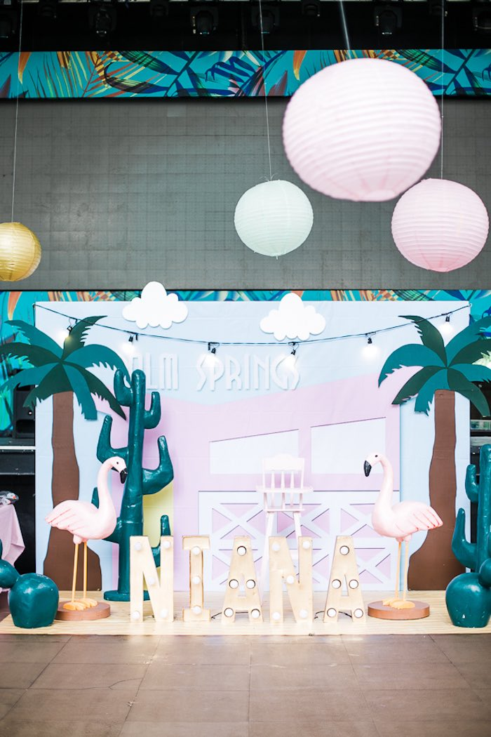 Palm Springs Party Backdrop from an Island Tropical Birthday Party on Kara's Party Ideas | KarasPartyIdeas.com (31)