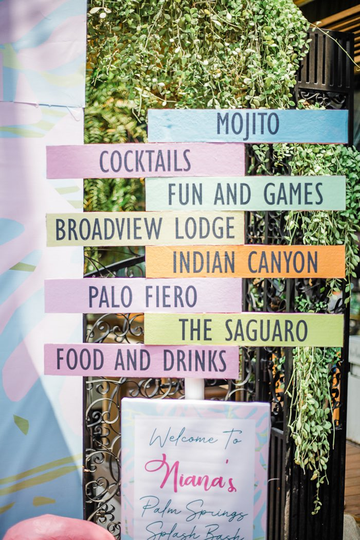 Colorful Directional Sign from an Island Tropical Birthday Party on Kara's Party Ideas | KarasPartyIdeas.com (18)