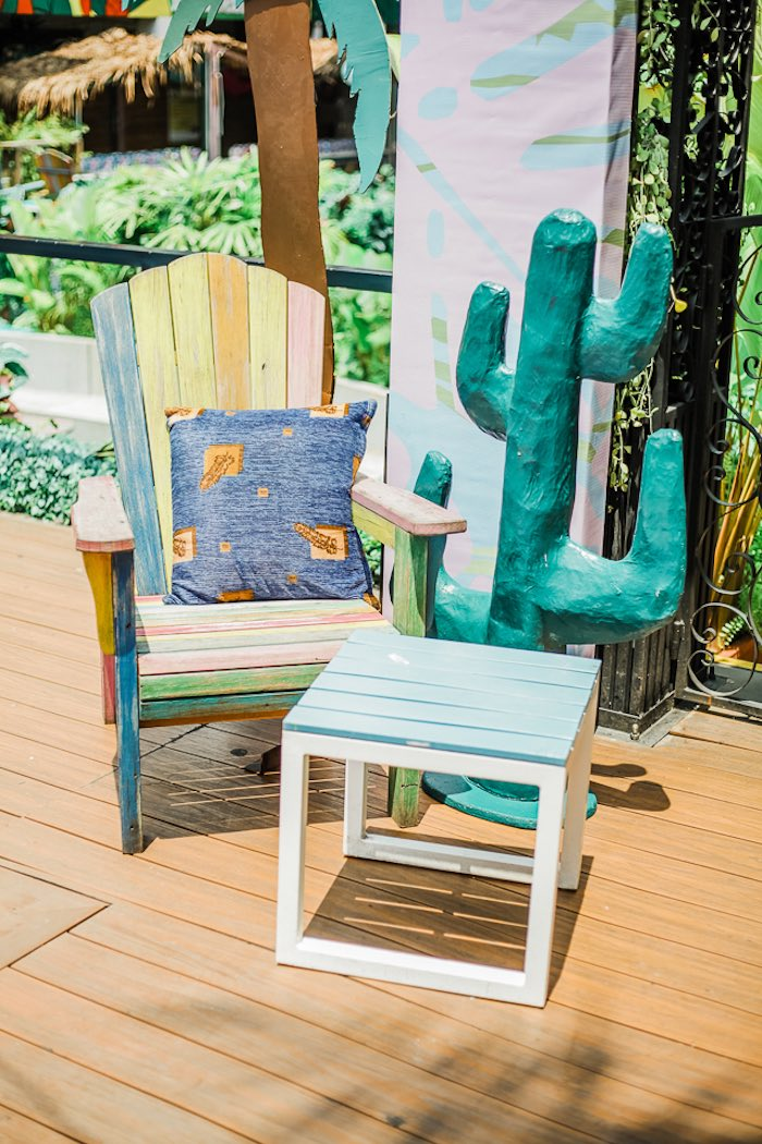 Colored Wooden Chair & Table from an Island Tropical Birthday Party on Kara's Party Ideas | KarasPartyIdeas.com (14)