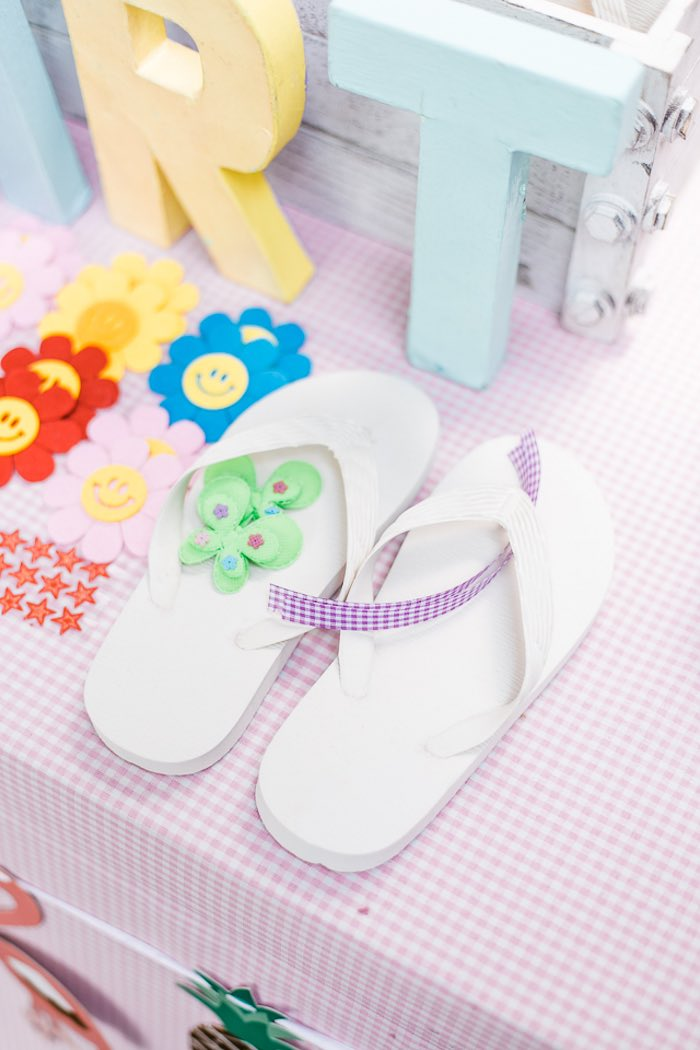 Flip Flop Decorating Station from an Island Tropical Birthday Party on Kara's Party Ideas | KarasPartyIdeas.com (10)