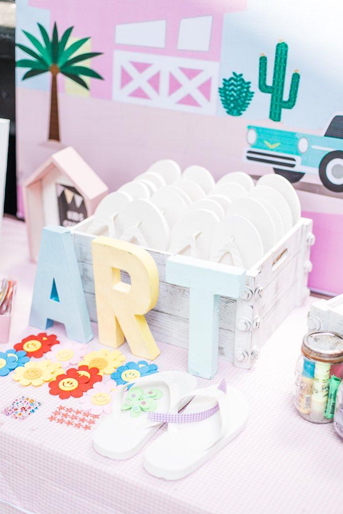 Art Table + Flip Flop Decorating Station from an Island Tropical Birthday Party on Kara's Party Ideas | KarasPartyIdeas.com (9)