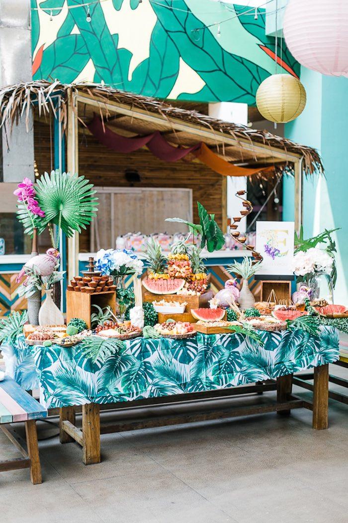Tropical Food Table from an Island Tropical Birthday Party on Kara's Party Ideas | KarasPartyIdeas.com (7)