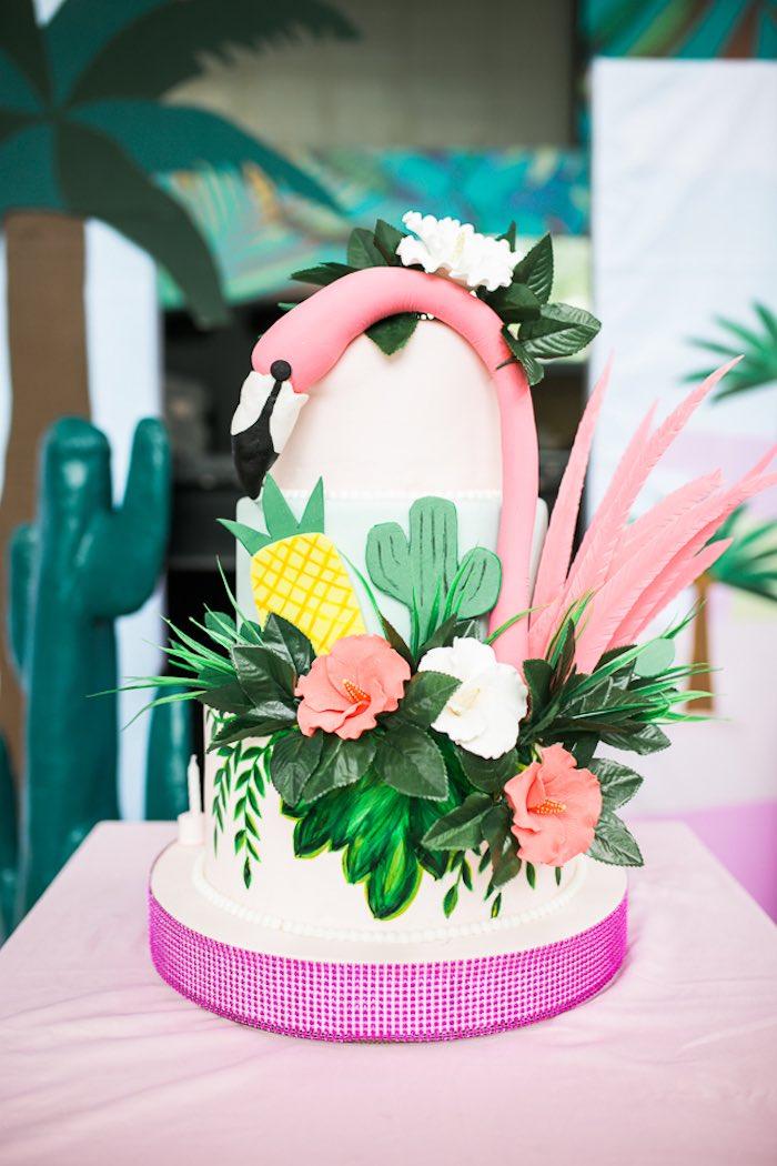Floral Flamingo Cake from an Island Tropical Birthday Party on Kara's Party Ideas | KarasPartyIdeas.com (6)