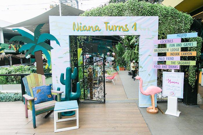 Tropical Party Entrance + Arch from an Island Tropical Birthday Party on Kara's Party Ideas | KarasPartyIdeas.com (39)