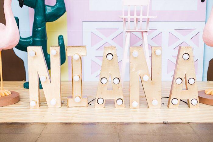 Letter Lights from an Island Tropical Birthday Party on Kara's Party Ideas | KarasPartyIdeas.com (37)