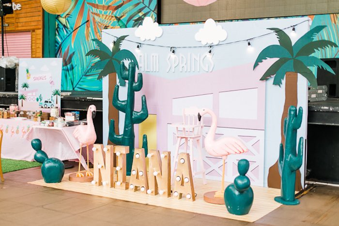 Palm Springs Party + High Chair Backdrop from an Island Tropical Birthday Party on Kara's Party Ideas | KarasPartyIdeas.com (36)