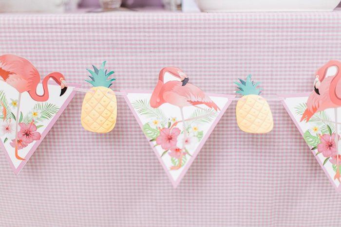 Pineapple & Flamingo Banner from an Island Tropical Birthday Party on Kara's Party Ideas | KarasPartyIdeas.com (34)