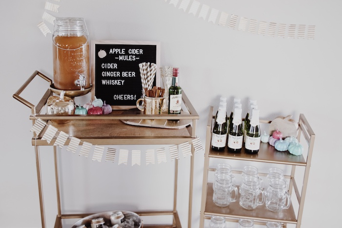Fall Beverage Carts from a Little Pumpkin 1st Birthday Party on Kara's Party Ideas | KarasPartyIdeas.com (21)