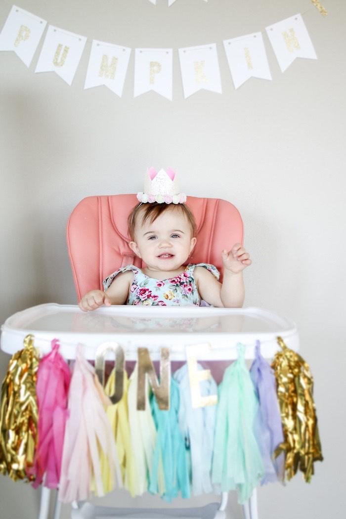Tassel Hight Chair Banner from a Little Pumpkin 1st Birthday Party on Kara's Party Ideas | KarasPartyIdeas.com (19)