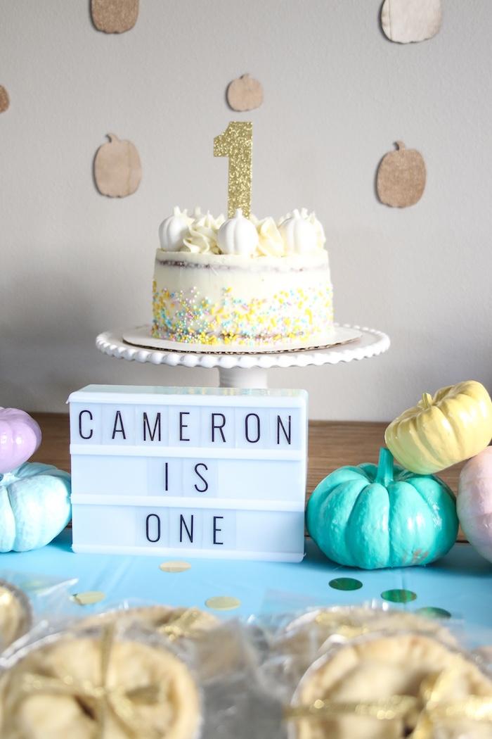 Pumpkin Cake Table from a Little Pumpkin 1st Birthday Party on Kara's Party Ideas | KarasPartyIdeas.com (18)