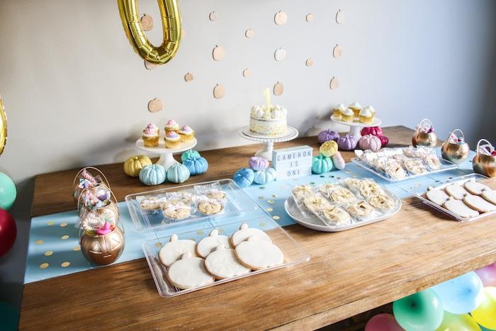 Dessert Table from a Little Pumpkin 1st Birthday Party on Kara's Party Ideas | KarasPartyIdeas.com (16)