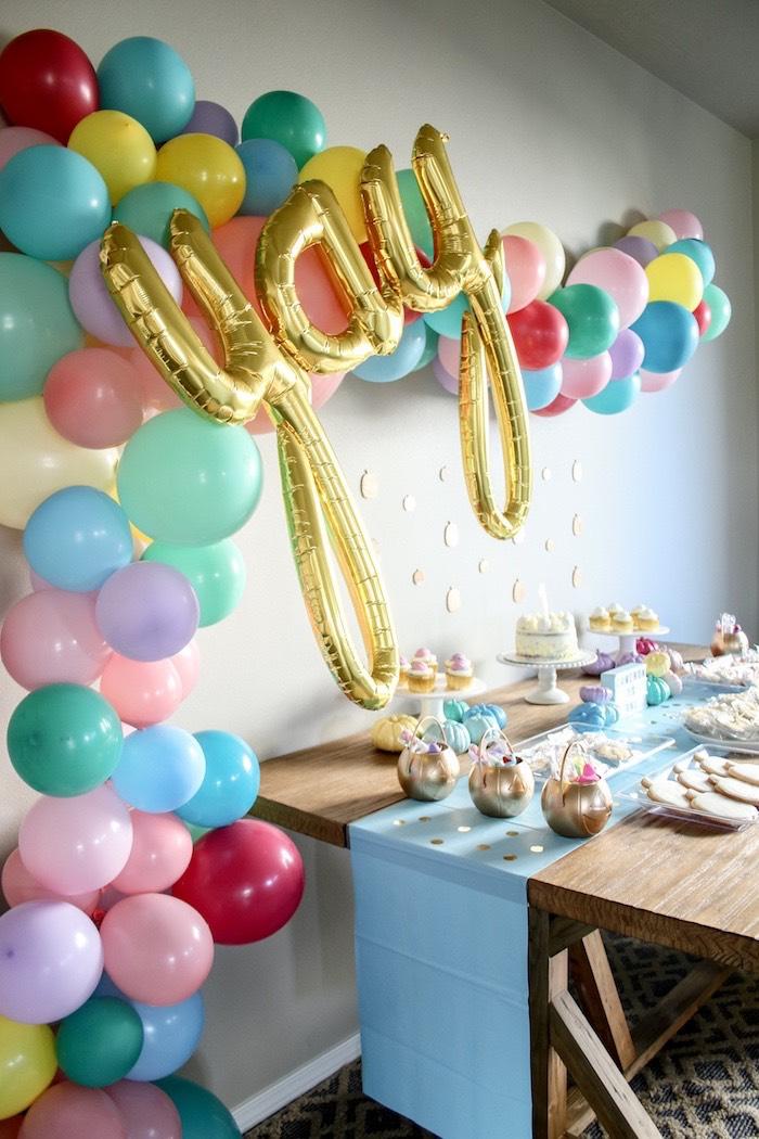 Yay Balloon Garland from a Little Pumpkin 1st Birthday Party on Kara's Party Ideas | KarasPartyIdeas.com (15)