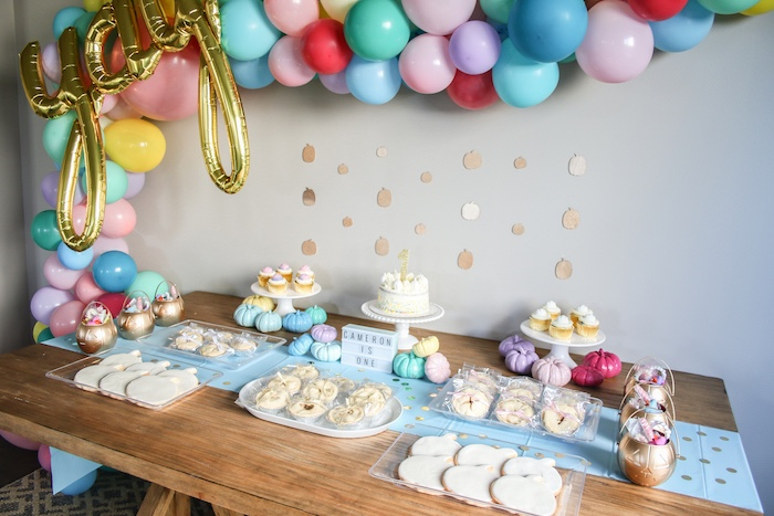 Pastel Glam Dessert Table from a Little Pumpkin 1st Birthday Party on Kara's Party Ideas | KarasPartyIdeas.com (14)