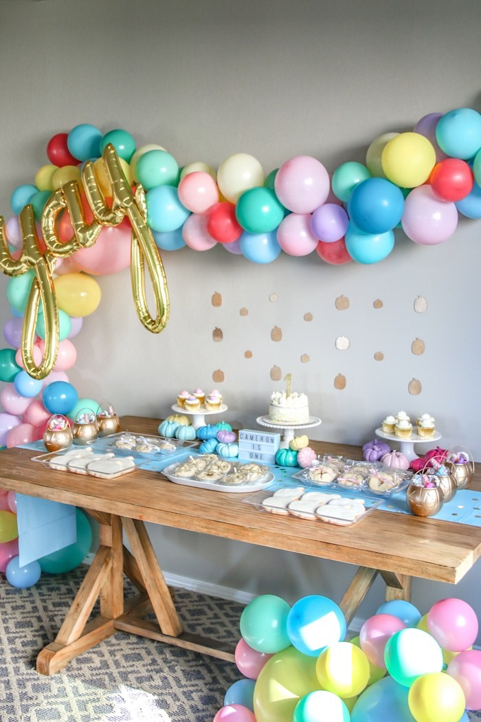 Pastel Glam Dessert Table from a Little Pumpkin 1st Birthday Party on Kara's Party Ideas | KarasPartyIdeas.com (13)