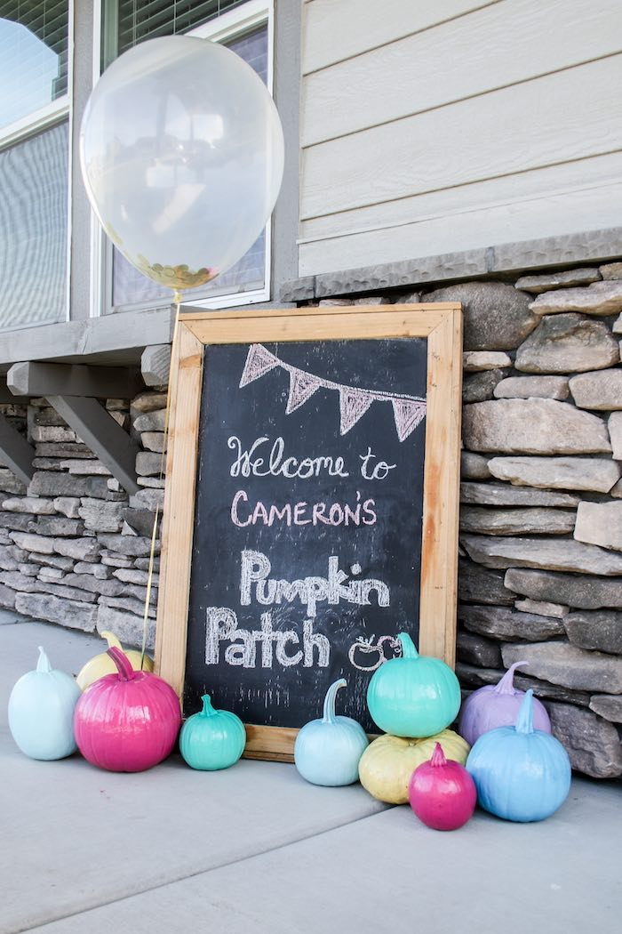 Pumpkin Patch Chalkboard Welcome Sign from a Little Pumpkin 1st Birthday Party on Kara's Party Ideas | KarasPartyIdeas.com (30)