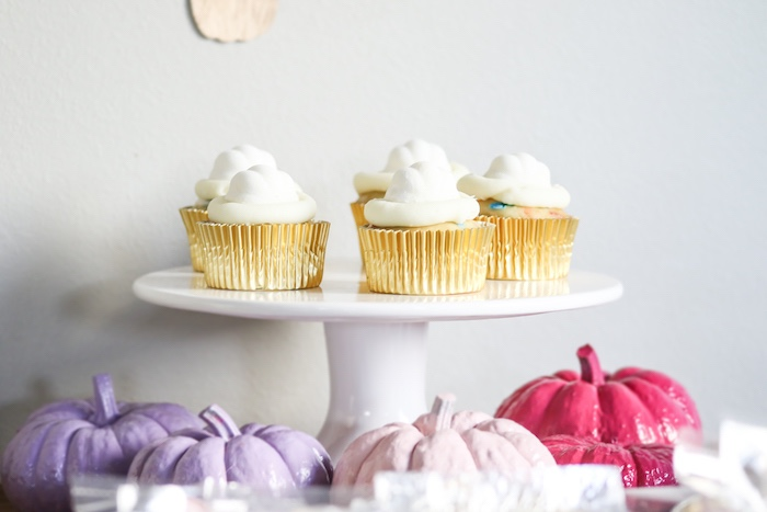 White-iced Cupcakes from a Little Pumpkin 1st Birthday Party on Kara's Party Ideas | KarasPartyIdeas.com (10)