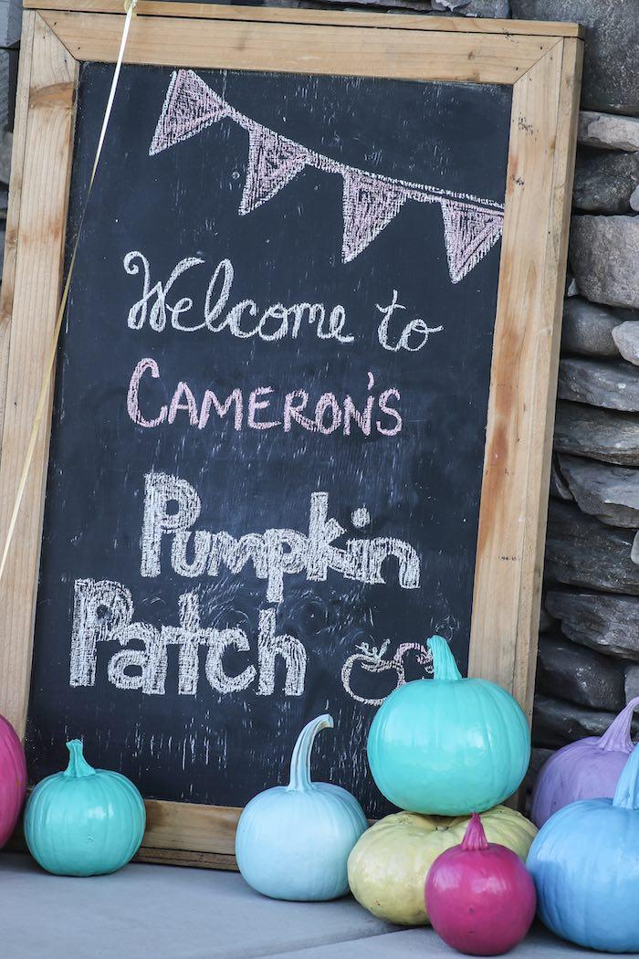 Chalkboard Pumpkin Patch Sign from a Little Pumpkin 1st Birthday Party on Kara's Party Ideas | KarasPartyIdeas.com (29)