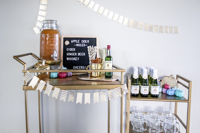 Fall Beverage Cart from a Little Pumpkin 1st Birthday Party on Kara's Party Ideas | KarasPartyIdeas.com (24)