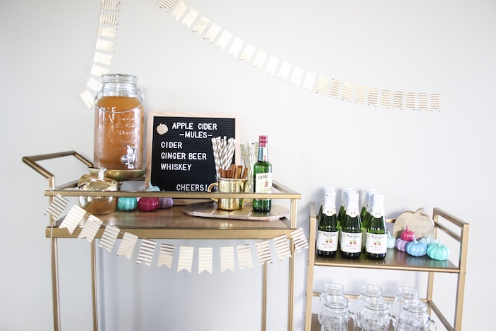 Fall Beverage Cart from a Little Pumpkin 1st Birthday Party on Kara's Party Ideas | KarasPartyIdeas.com (22)